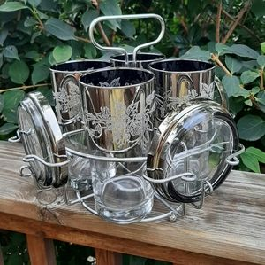Vintage drinking glasses with caddy